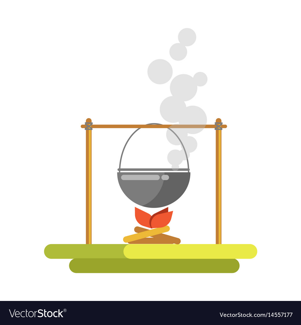 Cooking on open fire template flat vector image