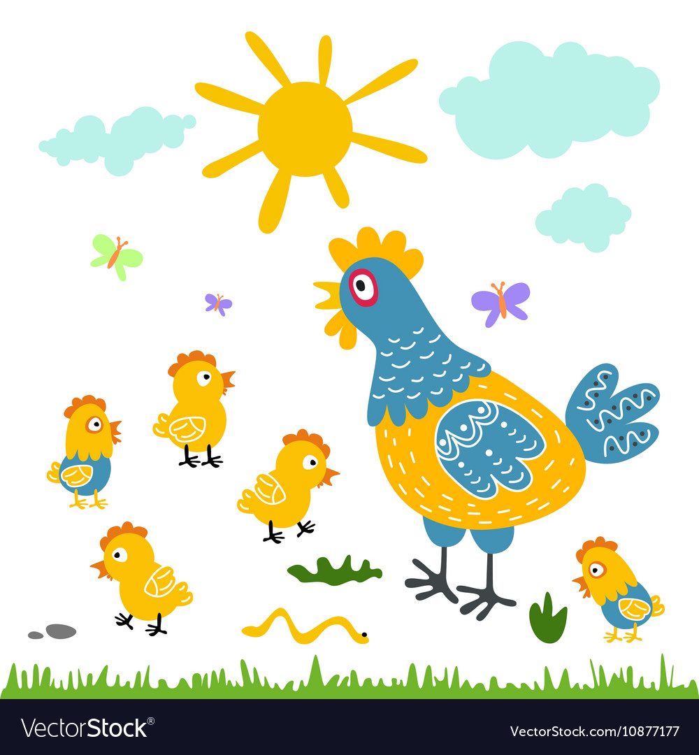 Funny cartoon colorfull hen and chicks isolated