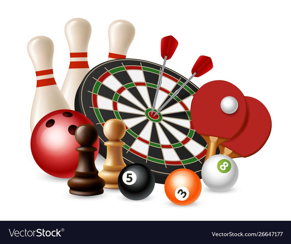 Gambling sport games bowling darts chess