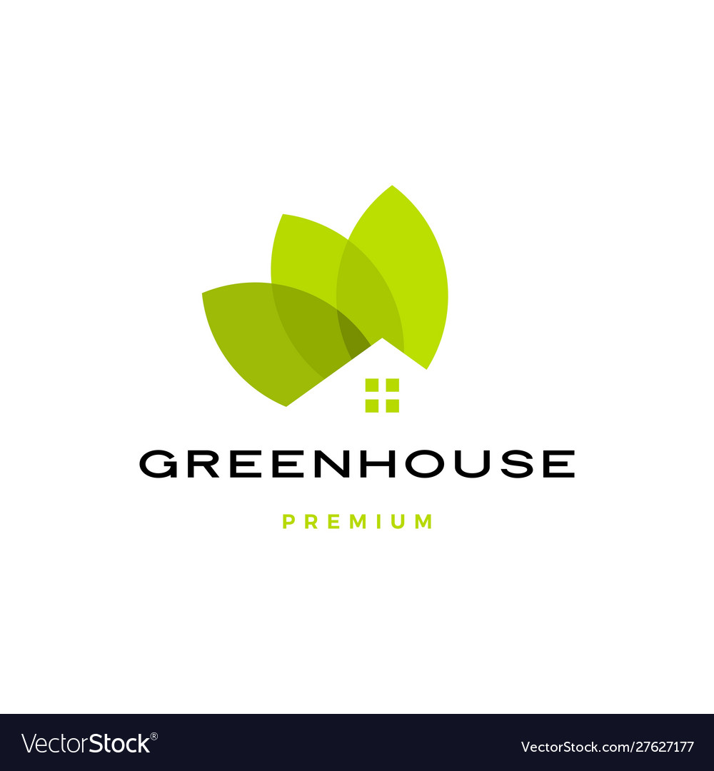 Green house leaf roof logo icon