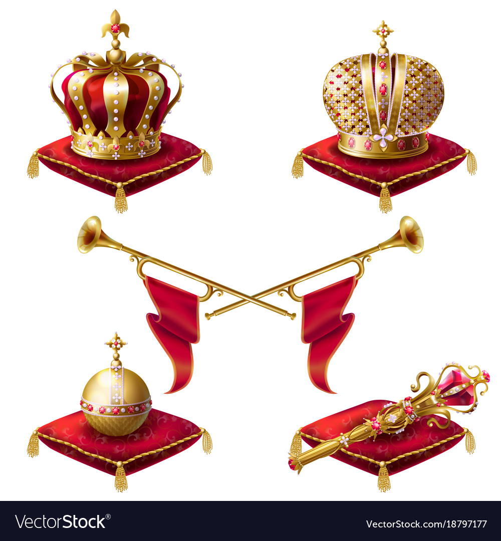 Royal golden crowns fanfares scepter and orb