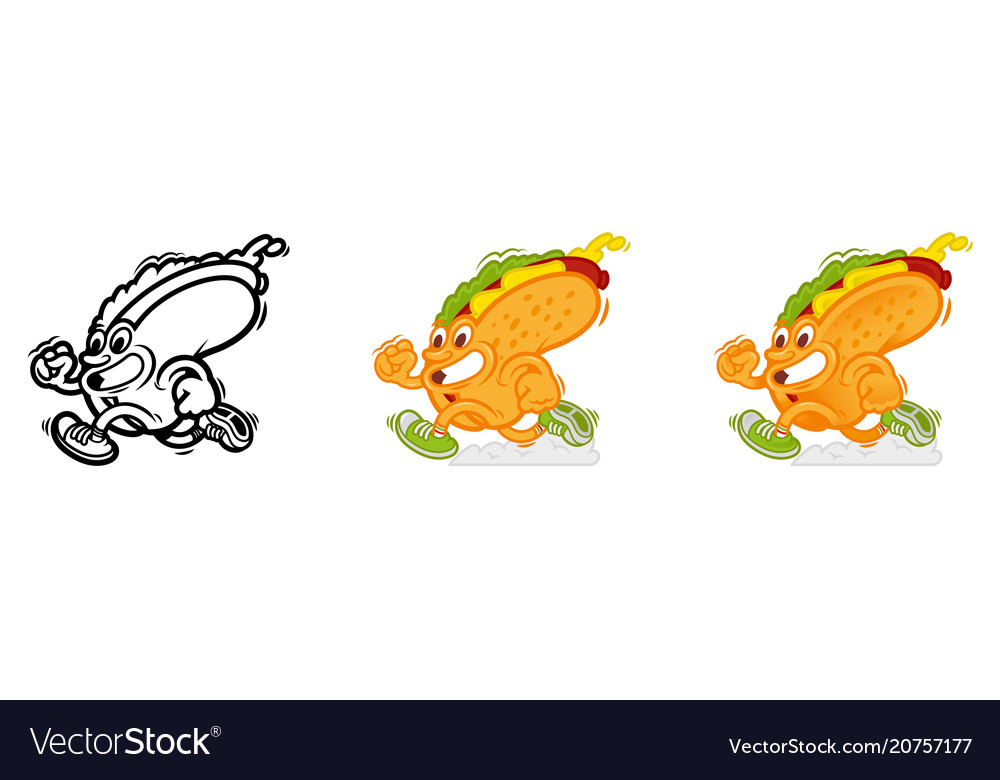 Set running cartoon hot dog vector image