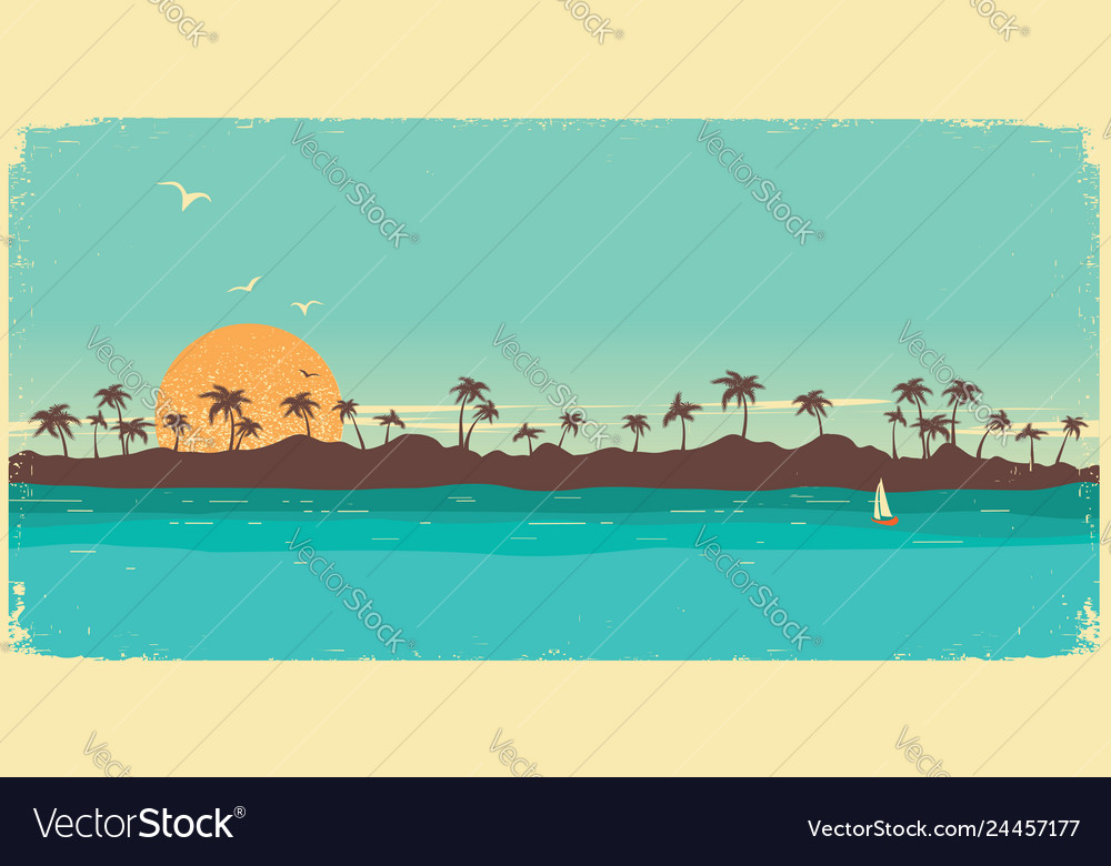 Tropical island paradisevintage poster background