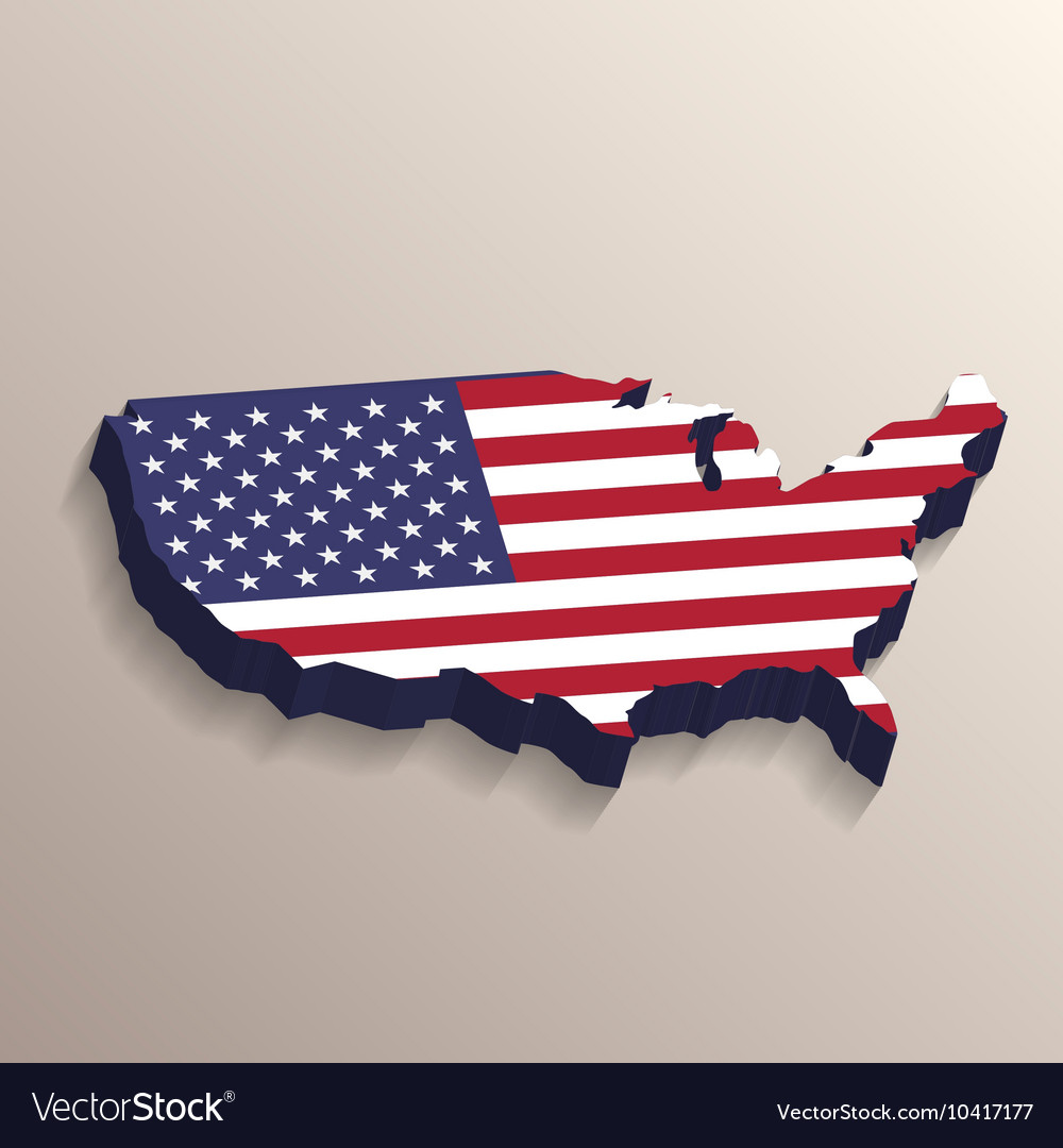 USA map with United States flag Royalty Free Vector Image