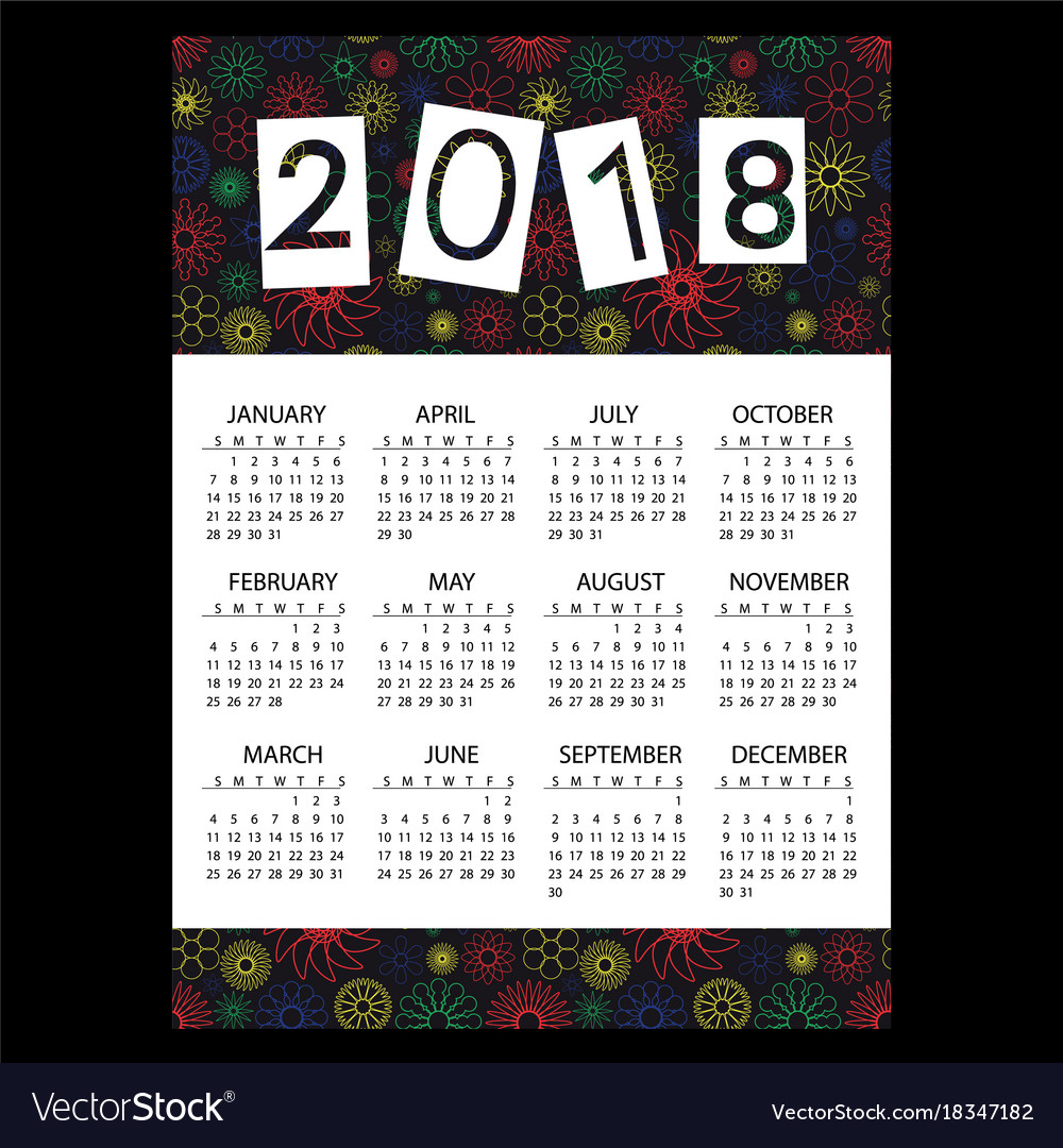 2018 simple business wall calendar with outline