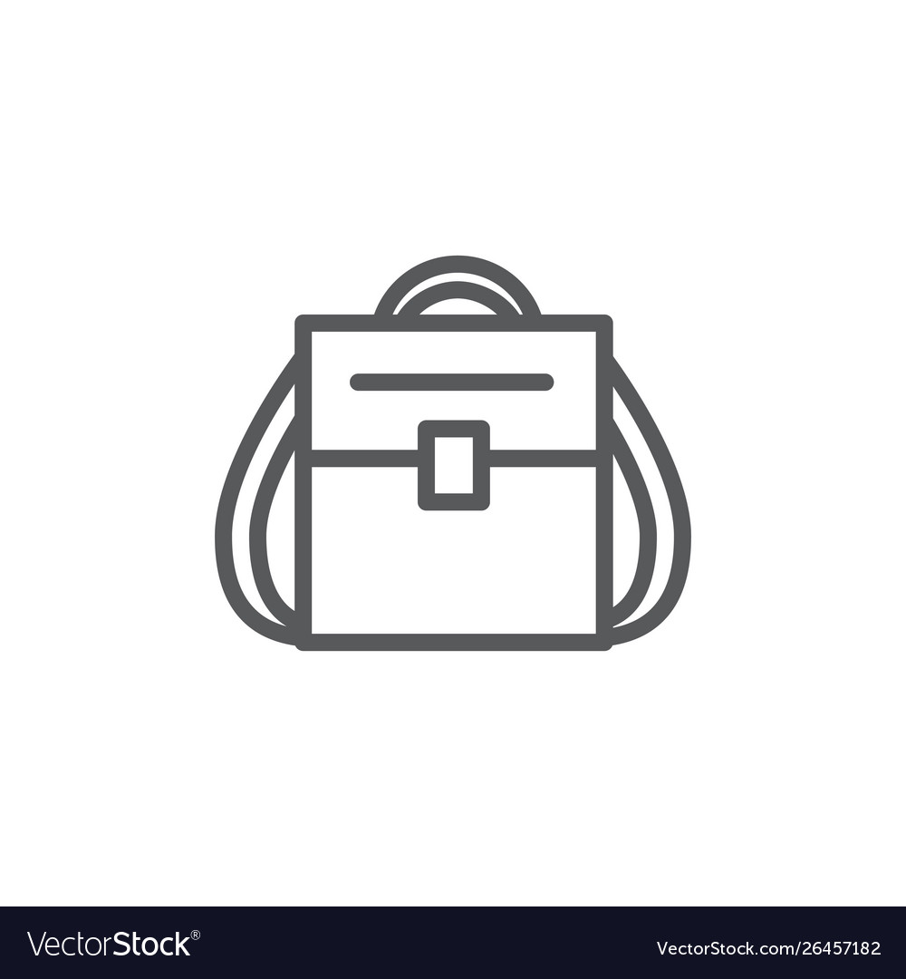 Backpack line icon on white background