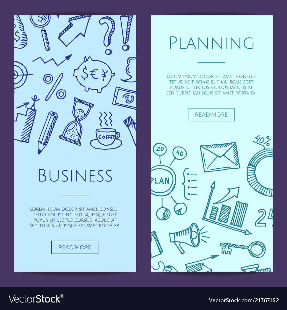 Business doodle icons vertical web banners