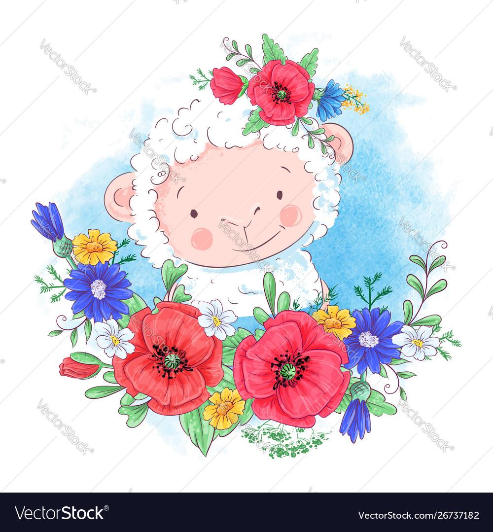 Cartoon a cute sheep in a wreath