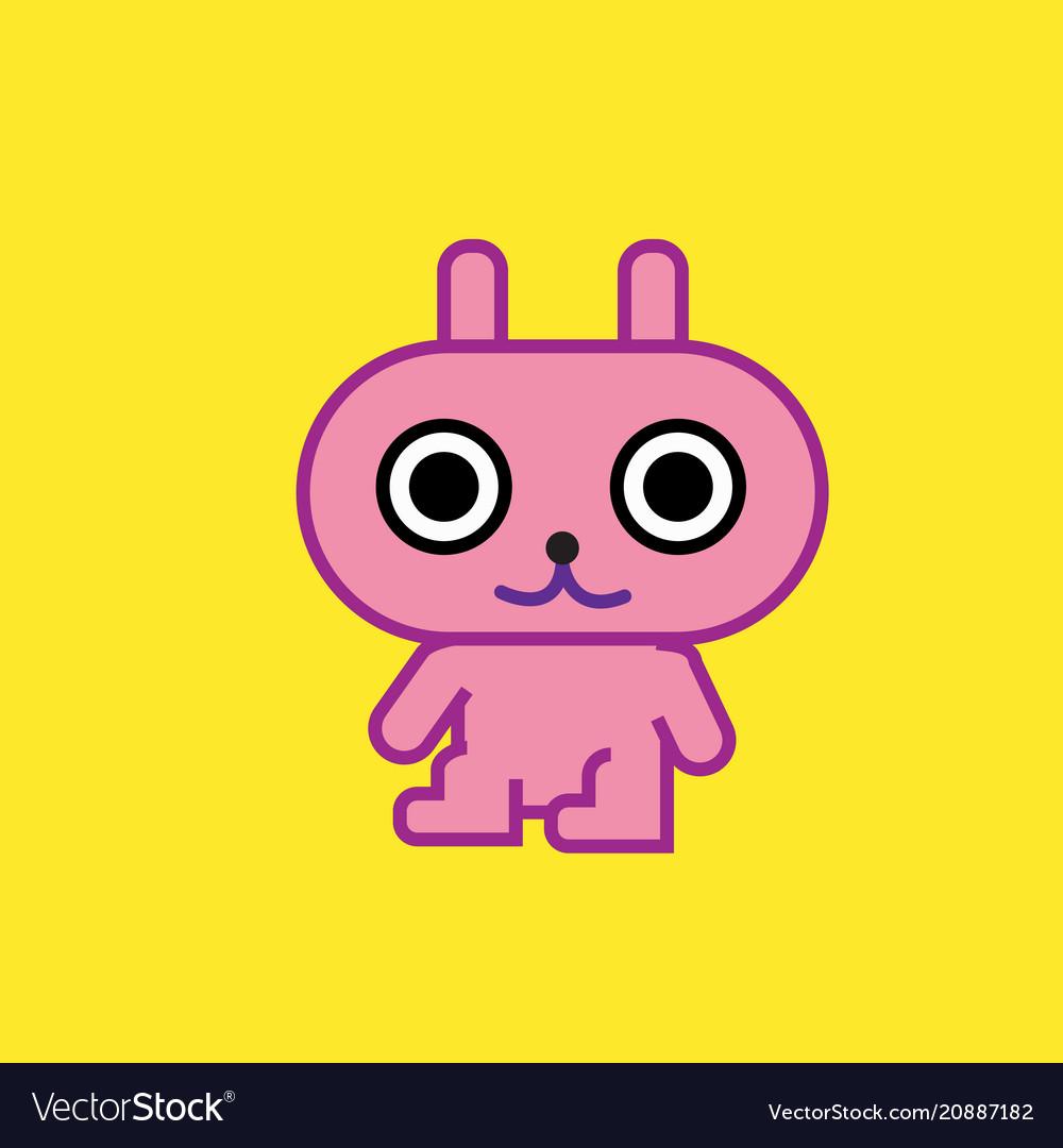 Cute cartoon character pink rabbit art with