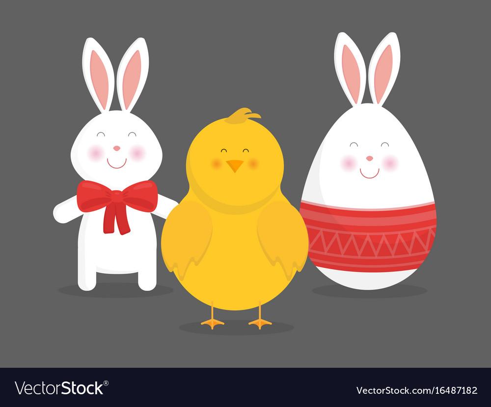 Cute easter bunny chicken and egg