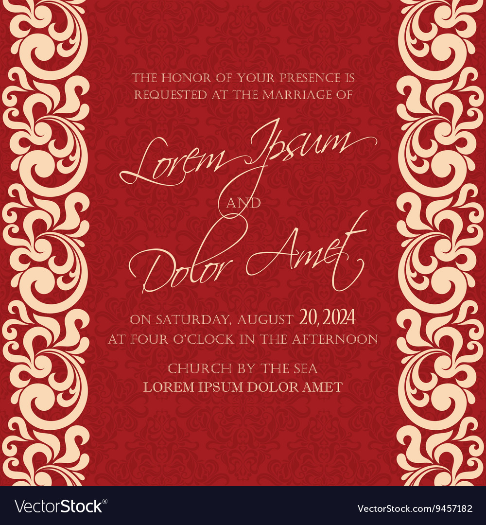 Damask wedding invitation red Royalty Free Vector Image