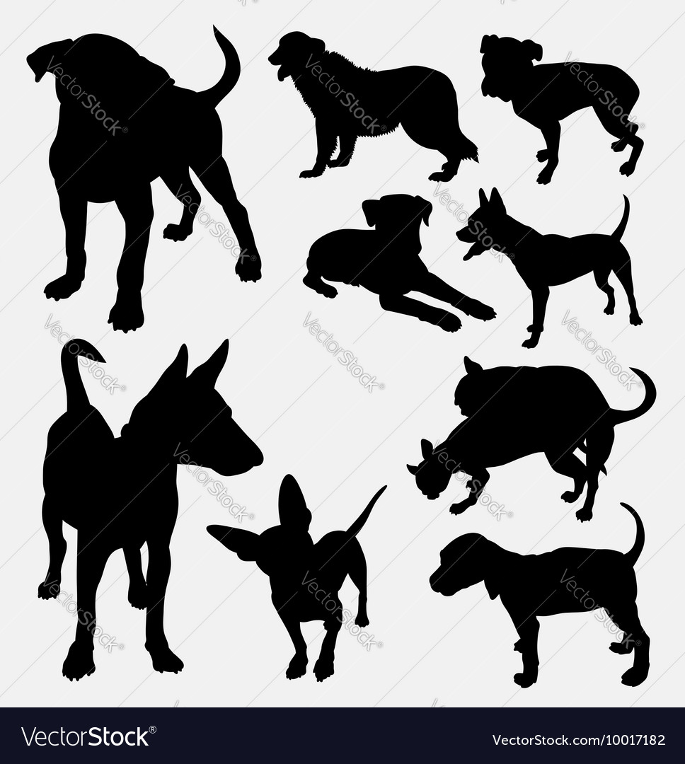 Dog pet animal silhouette 12 vector image
