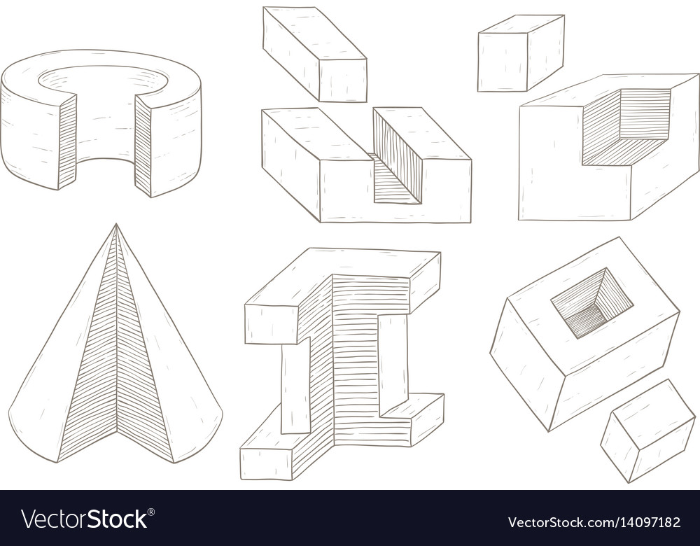 Geometric shapes hand drawn sketch