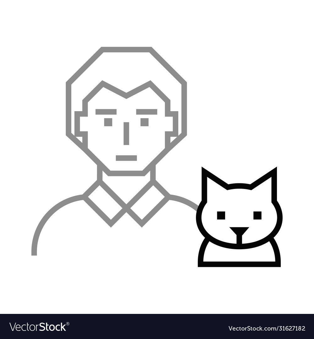 Icon man with cat