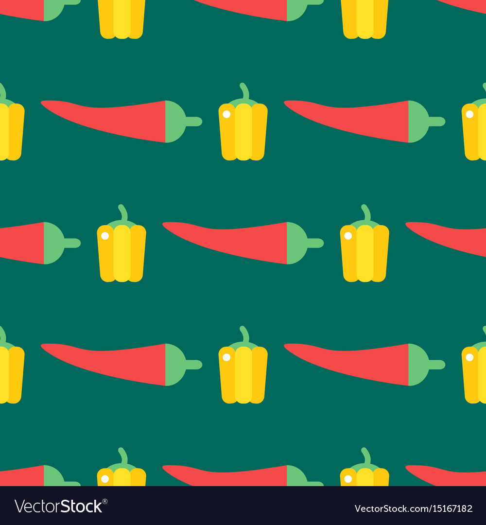 Red chili pepper healthy plant seamless pattern vector image