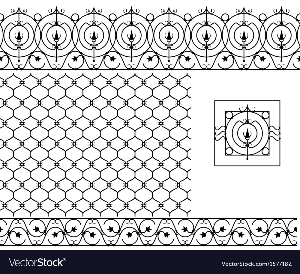 Seamless patterns set for wrought iron railing