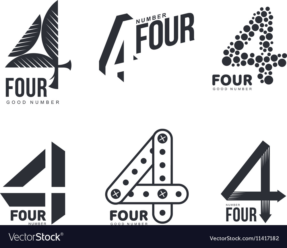 Set of black and white number four logo templates