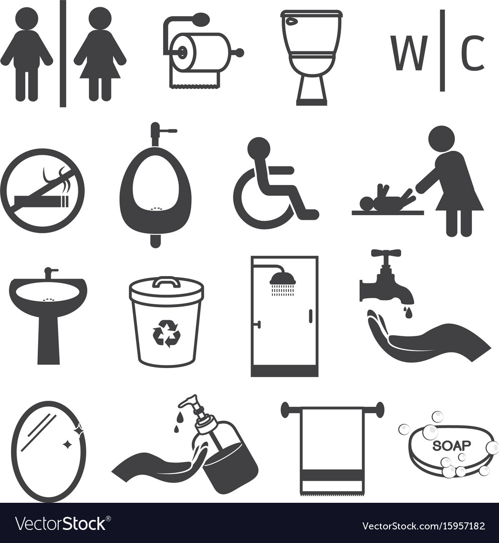 Toilet and bathroom icons set vector image
