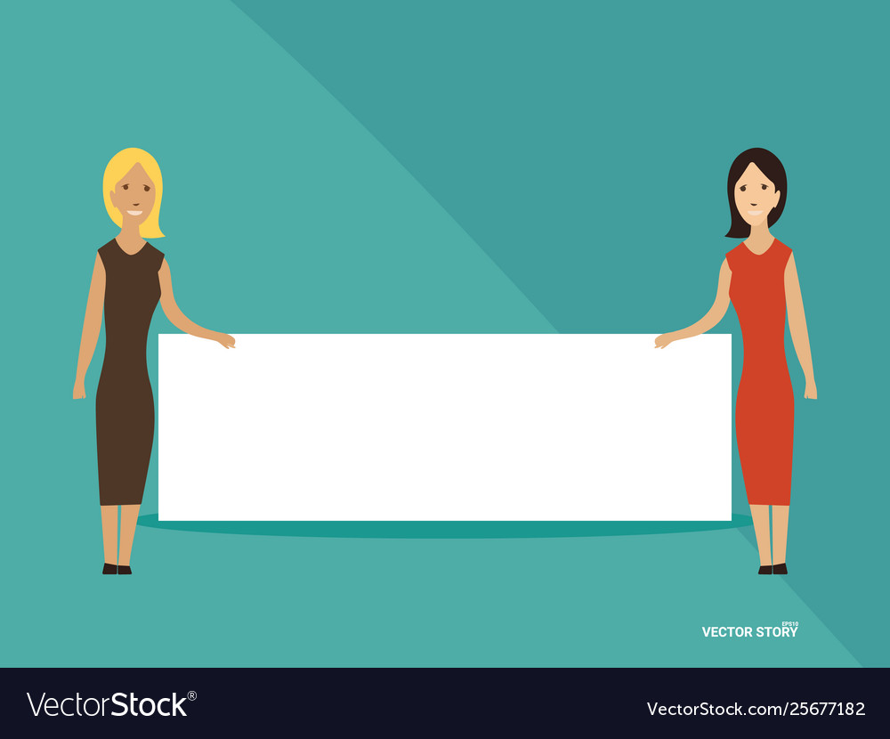 Two young woman with empty banner in hands free