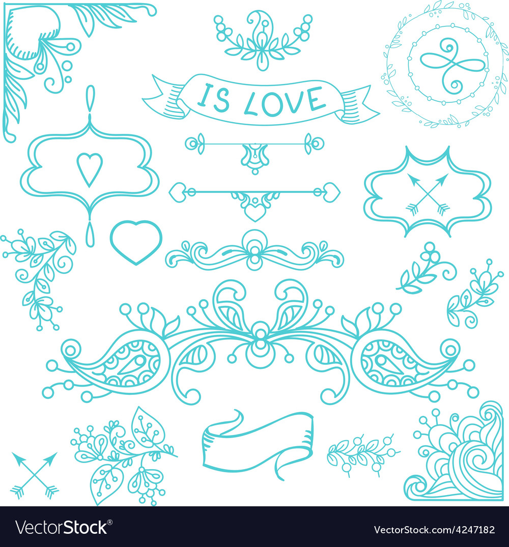 Vintage label set Hand-drawn doodles vector image