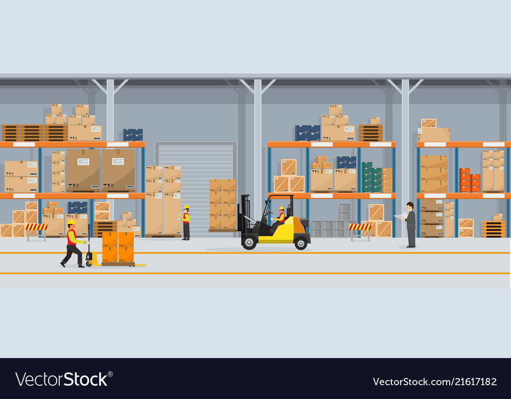 Warehouse interior with boxes on rack and people