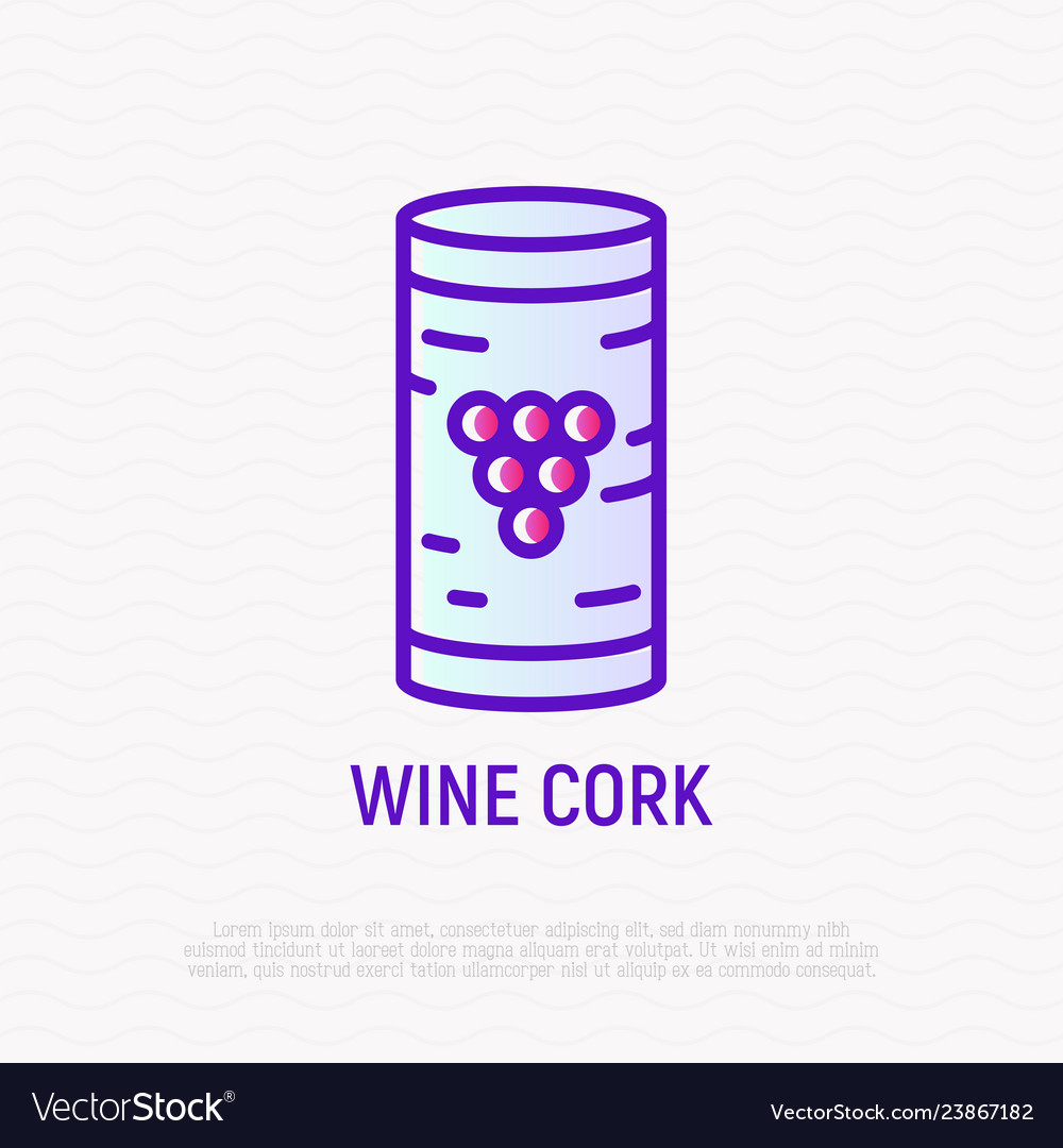 Wine cork with grape thin line icon