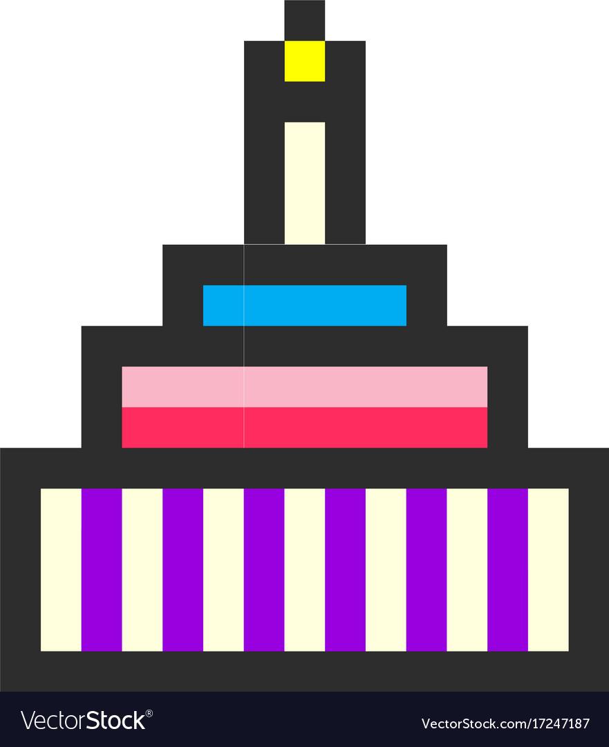 Birthday cake pixel art cartoon retro game style Vector Image