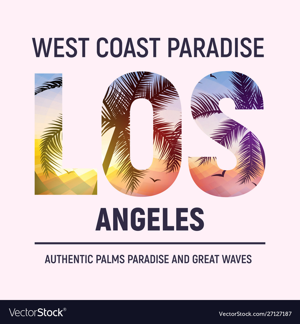 California los angeles beach graphic design t