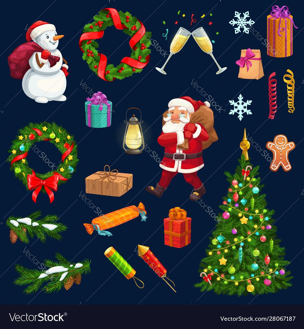 Christmas Tree Gift Santa Snowman Snow Icons Vector Image