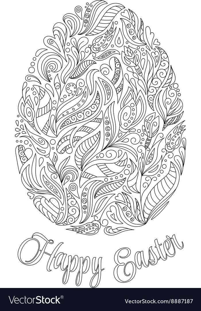 Easter egg with pattern in zentangle style