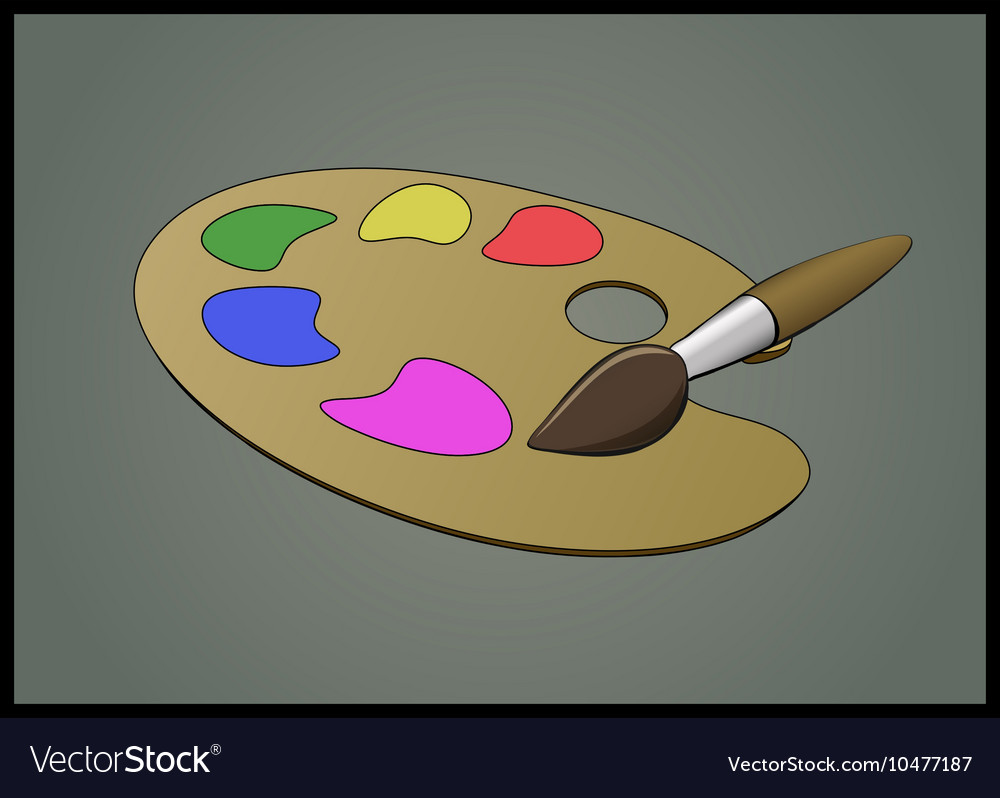 Flat of Color Pallete and Brush