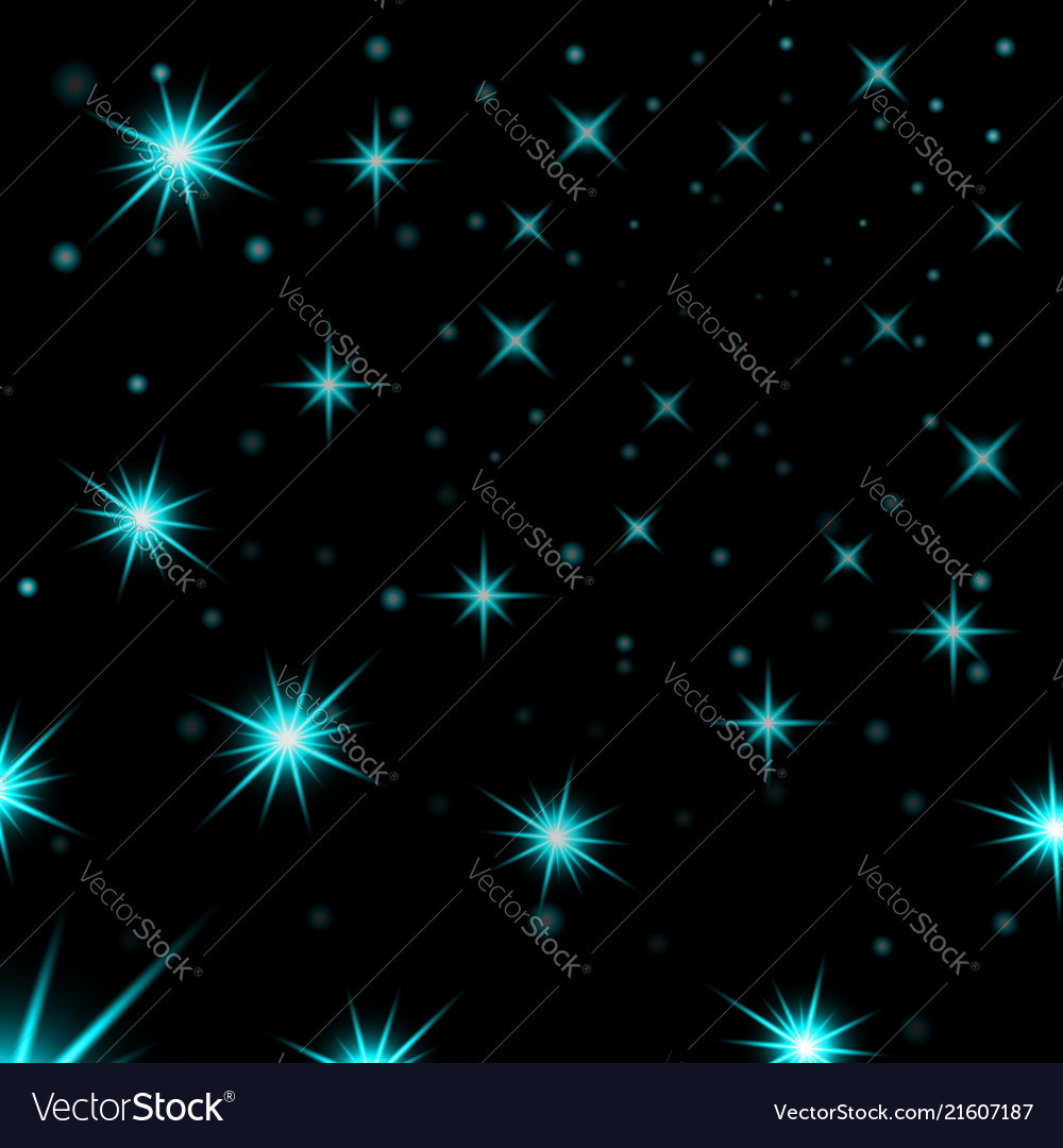 Light blue stars black night sky background