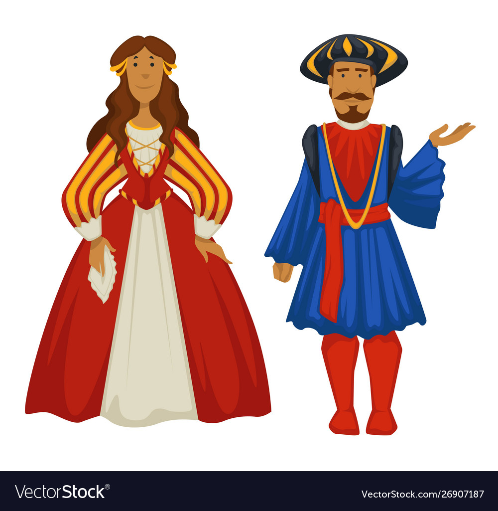 Renaissance style couple ancient fashion ball