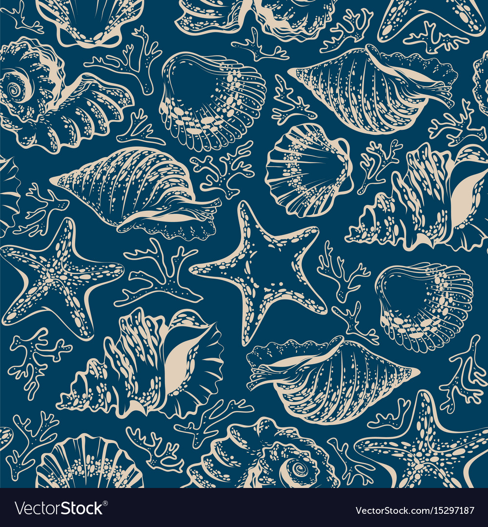 Seamless pattern seashells starfish and corals