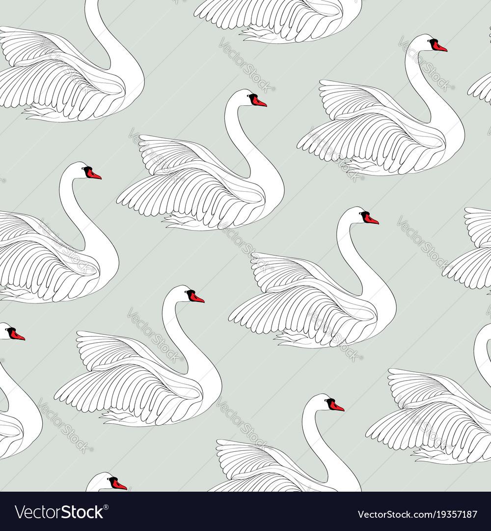 Seamless pattern with white swans white bird