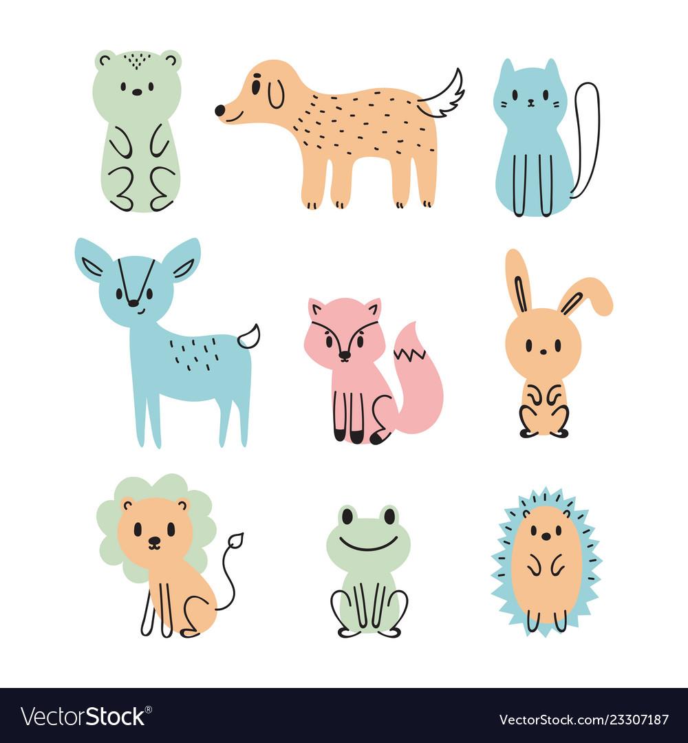 Set of cute cartoon animals bear dog cat deer