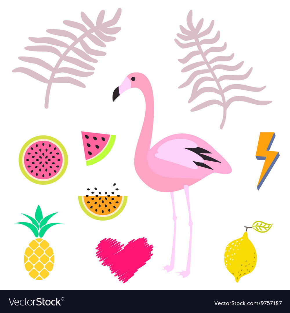 Summer pink flamingo clipart icon set