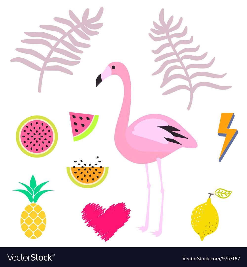 Flamingo summer. Pink clipart icon set