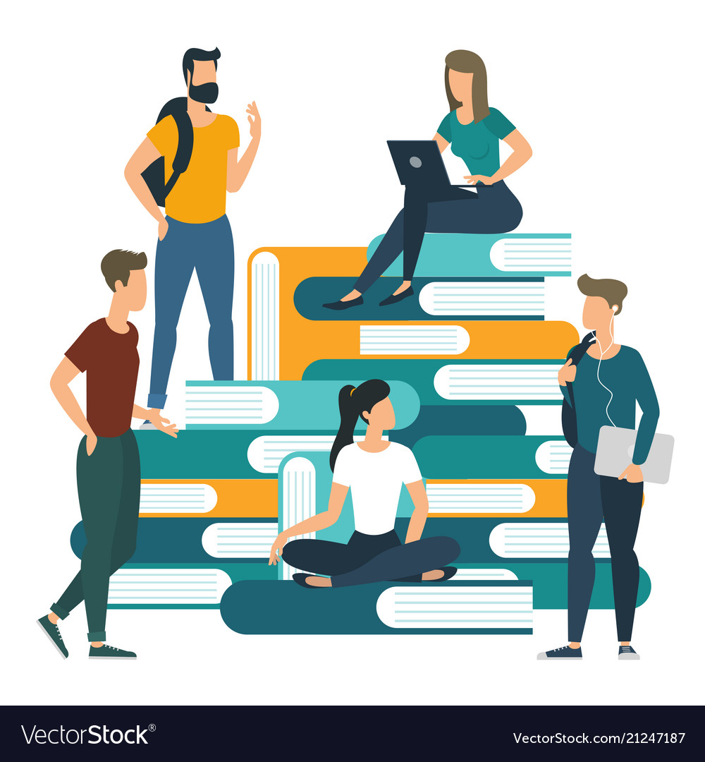 University college books and knowledge concept