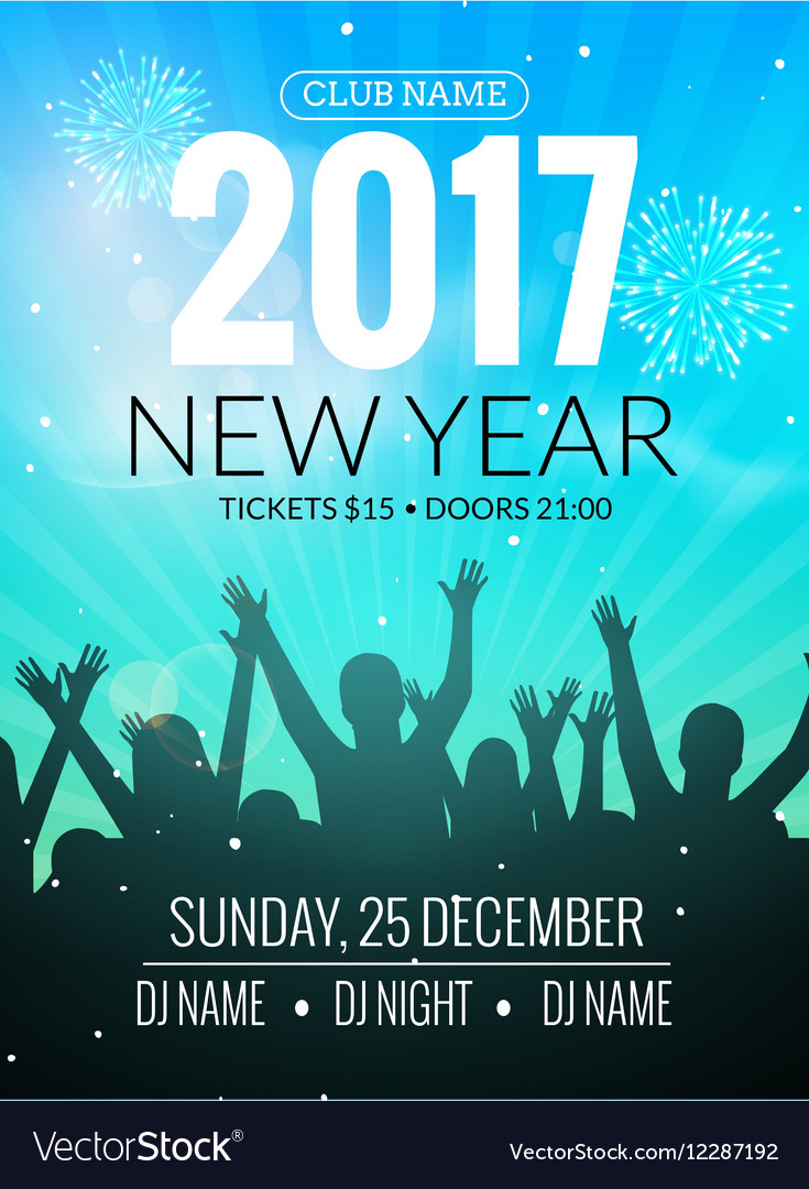 2017 nyew year party dance people background event vector image