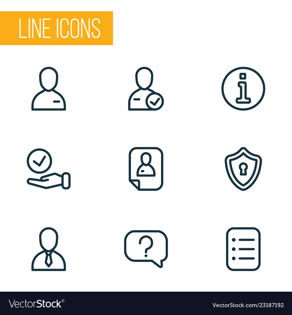 Business icons line style set with candidate