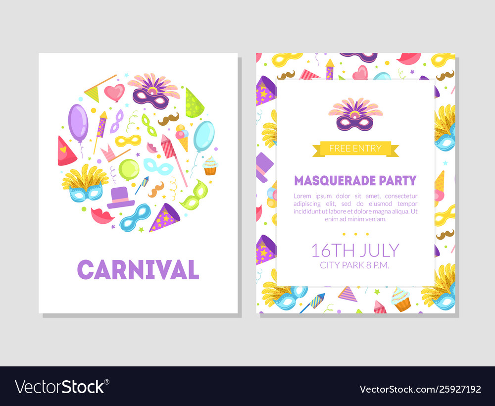 Carnival masquerade party banner flyer or
