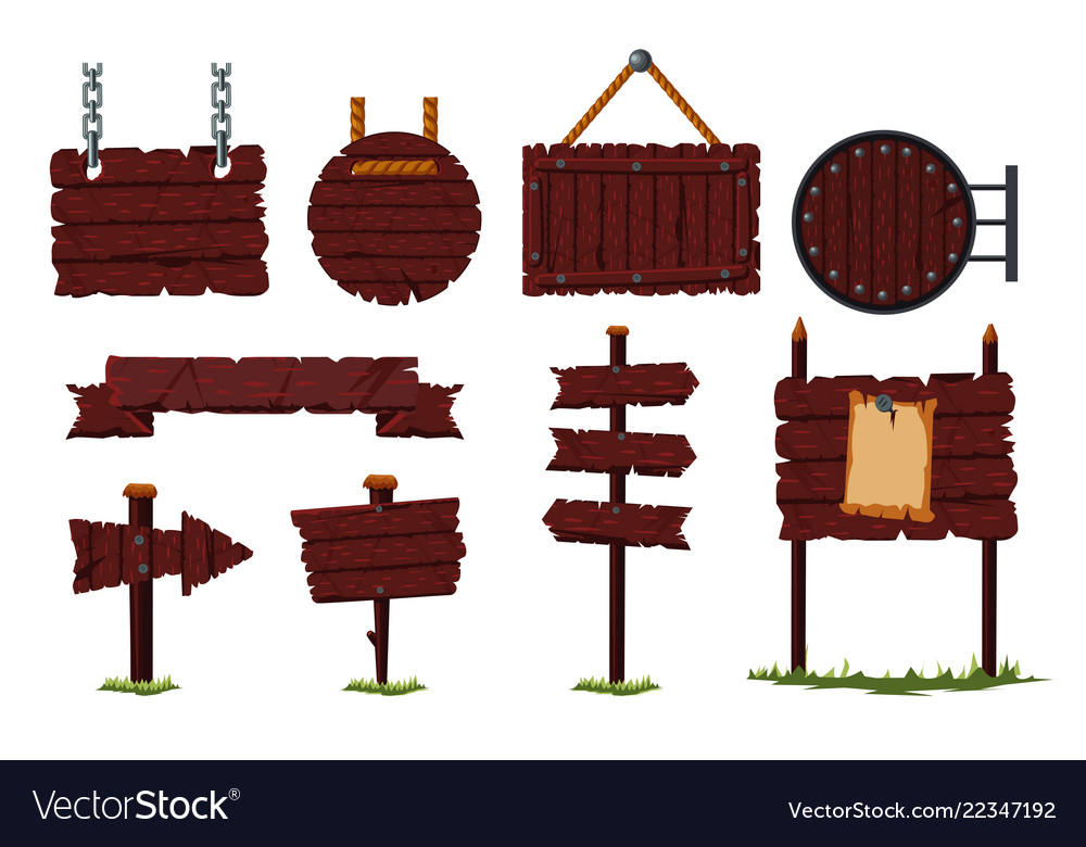 Cartoon wooden sign set with wood board and