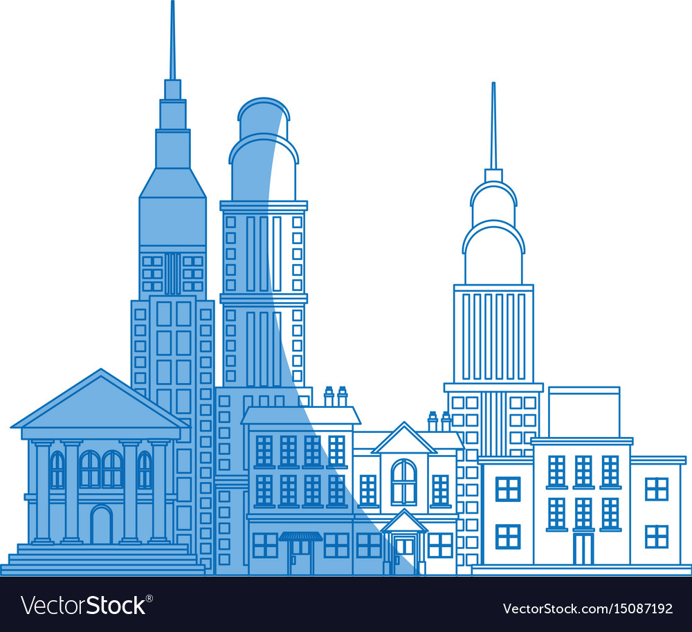 City buildings and skyscrapers of urban skyline vector image