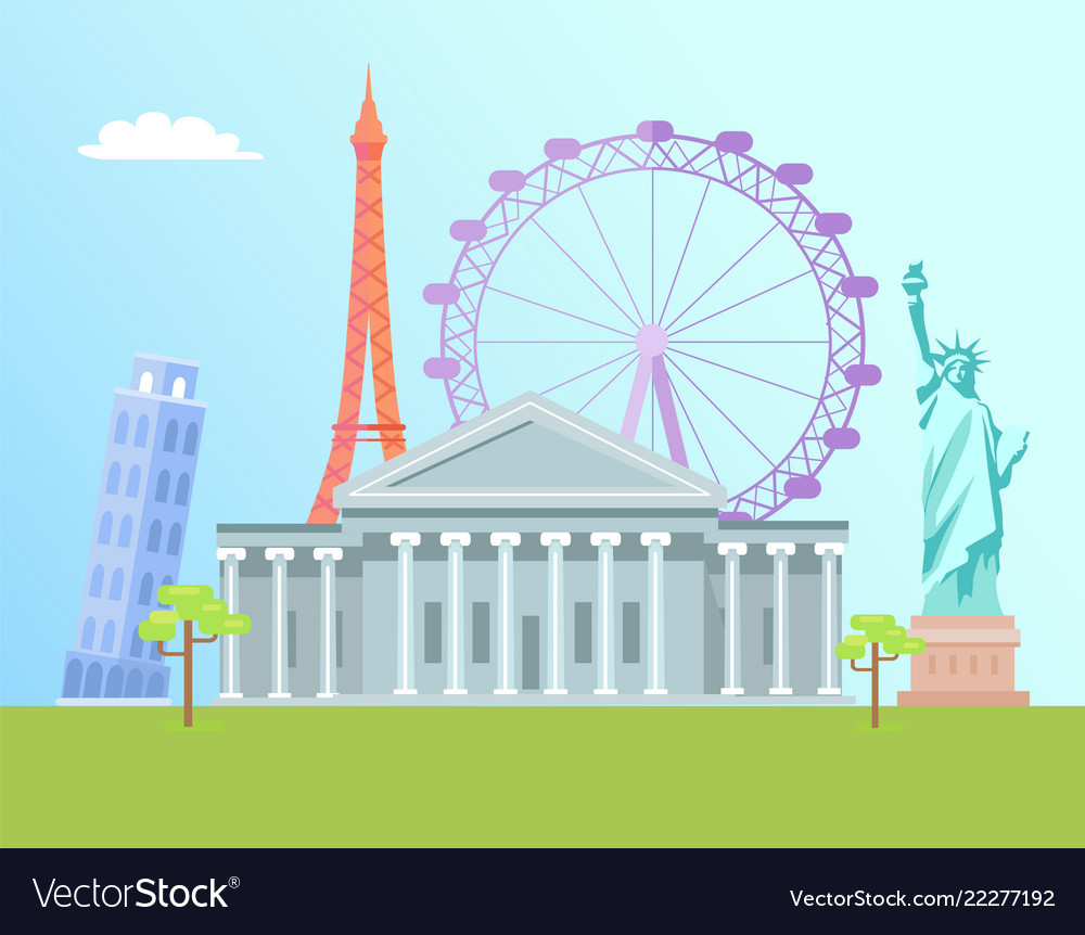 Eiffel tower and capitol set