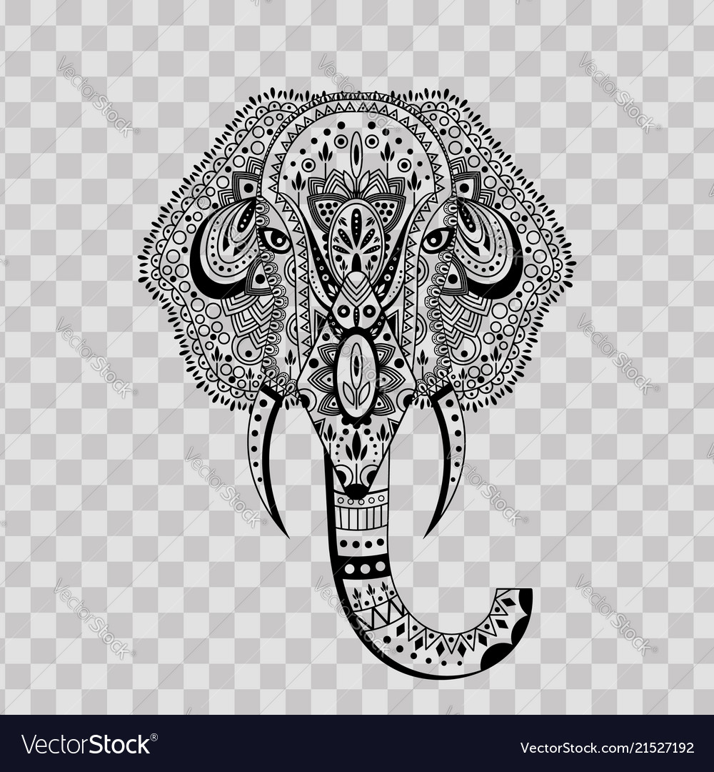 Elephant head zentangle stylized on transparent