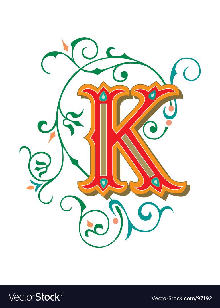 Floral letter k