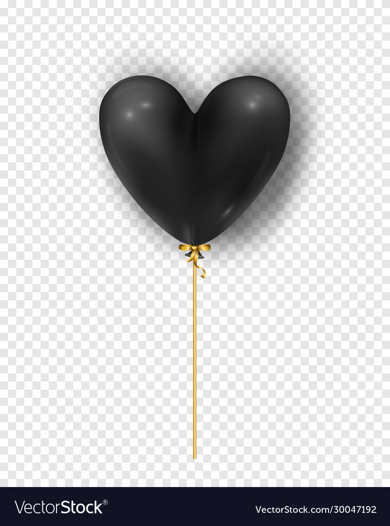 Glossy black air balloon in heart form of