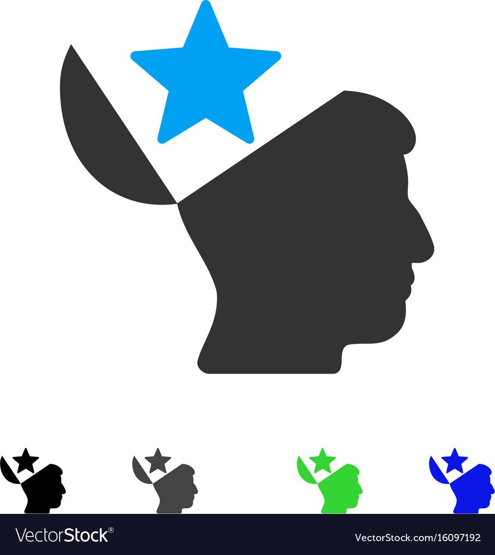 Open head star flat icon