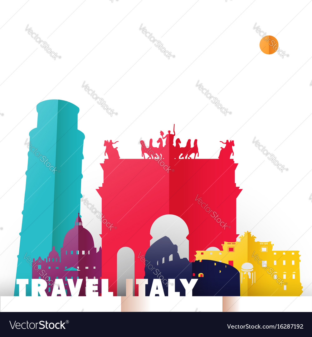 Travel italy country paper cut world monuments